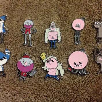 LOT OF 5 OR 10 Regular Show Cartoon Chibi Hat Pin Set - Handmade, Repurposed From Charms