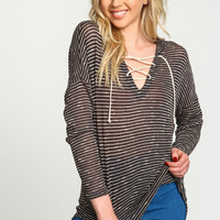 Charcoal Lace Up Striped Hoodie Top