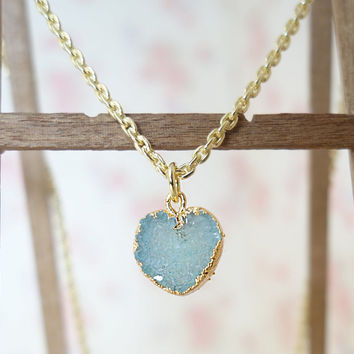 Necklace with pendant gold plated sterling silver necklace with agate pendant gift for her heart necklace mint crystal collar light blue