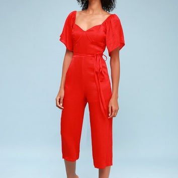 Deniz Red Culotte Jumpsuit