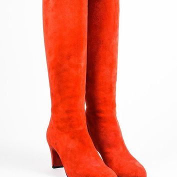 PEAPU2C Christian Louboutin Red Suede Zip Back Miss Tack 70 Heel Boots