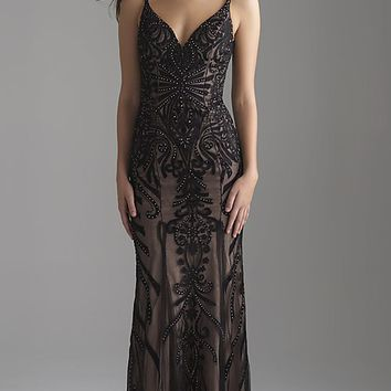 Long Embroidered V-Neck Madison James Prom Dress