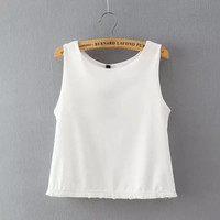 Plain Sleeveless Fringed Chiffin Shirt