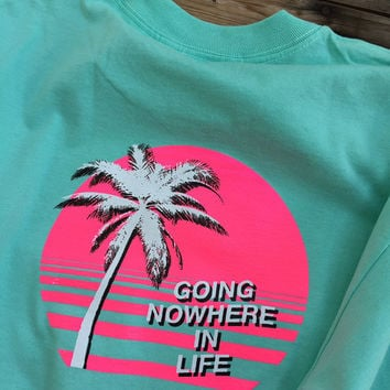 Going Nowhere In Life t shirt pink 1980's 80's vaporwave palewave vapor 1990s 90s pastel beach aesthetic seapunk