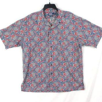 Polo Ralph Lauren Shirt L size Mens Blue Floral Hawaiian Cotton Clayton