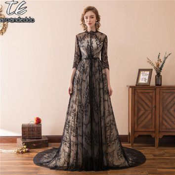 Princess High Neck Three Quarter Sleeves English/France Lace Black Prom Dress with Long Train Illusion Back Evening Gowns