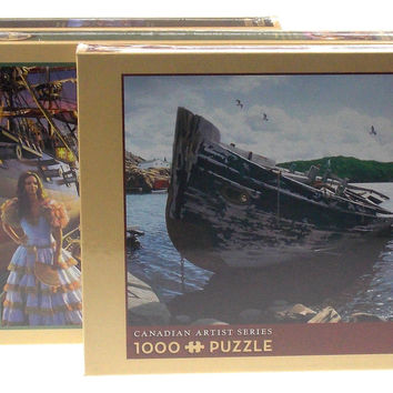 Cobble Hill 1000 Pc Jigsaw Puzzle Set 3 19x28 Awash Shore Lunch Line Pirate Gold