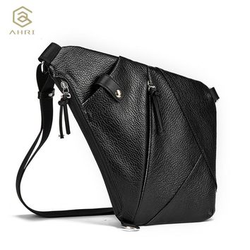 Male Theft proof Urban Button Open Leather Chest Bags Fashion Travel Cross body Bag Man Messenger Bags