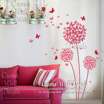 wall decal butterfly and flower Vinyl wall decal girl decal Nursery wall decal children- dandelion Z206 by cuma wall decals