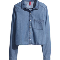 H&M - Short Denim Shirt - Denim blue - Ladies