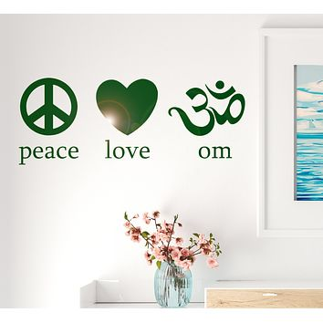 Vinyl Decal Om Peace Love Yoga Symbol Spirit Mind Body Decor Wall Mural Art Sticker Unique Gift M582