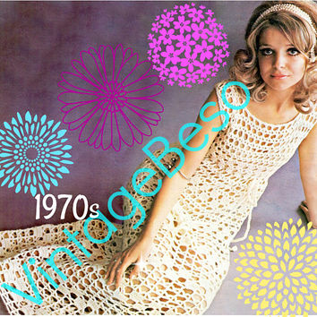 Romantic Maxi Dress CROCHET Pattern • PdF Pattern • Elegant Ladies Dress Crochet Digital Pattern• Wedding • After Party • Vintage 1970s