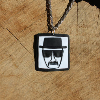 Breaking Bad pendant fimo -- Heisenberg identikit in polymer clay // Square pendant handmade // Fimo jewelry