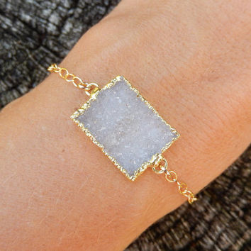 White Druzy Bracelet Rectangle 14K Gold Quartz Crystal Drusy Gold Filled Chain - Free Shipping OOAK Jewelry