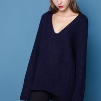 V-Neck Wool Blend Sweater