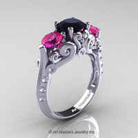 Art Masters Athena 14K White Gold Three Stone Black White Diamond Pink Sapphire Modern Antique Engagement Ring R515-14KWGDPSBD