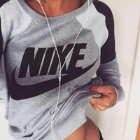 Fashion Letter Print Round Neck Top Pullover Sweater Sweatshirt