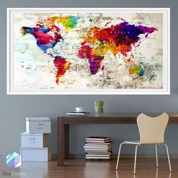 XL Poster Push Pin World Map travel City Art Print Photo Paper watercolor Old Wall Decor Home (frame is not included)(P28) FREE Shipping USA
