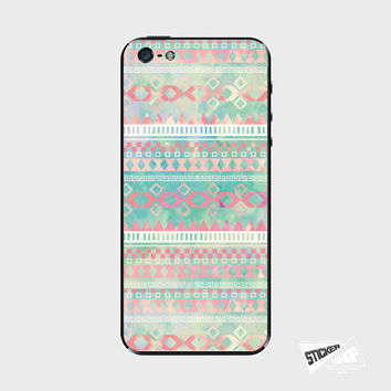 iPhone 5S Cover iPhone 4 Skin Phone Sticker Galaxy S4 Decal Pink Turquoise Aztec Watercolor Pastel Pattern