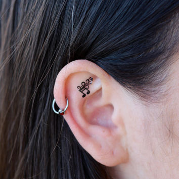 Musical Note Flourish Ear Tattoos by EARinkFun on Etsy