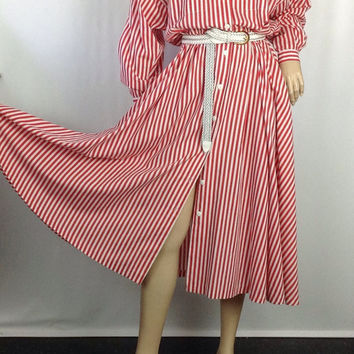 50s Style Dress Full Skirt Dress Dolman Sleeve Dress  Red White Dress Striped Shirt Dress 80s does 50s dress Positive Attitude L XL 46/34/80