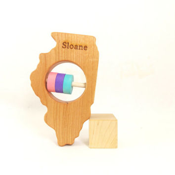 ILLINOIS State Baby Rattle - Modern Wooden Baby Toy - Organic and Natural