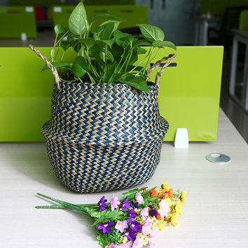 WHISM Woven Foldable Seagrass Striped Storage Basket Wicker Laundry Basket Garden Vase Hanging Handle Storage Belly Flower Pot