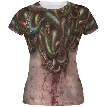 Cthulhu Greater God Tentacles All Over Juniors T-Shirt
