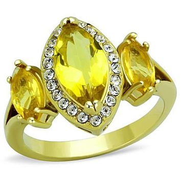 WildKlass Stainless Steel Ring IP Gold(Ion Plating) Women Synthetic Topaz