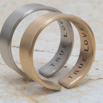 Personalized Valentine's Day Couples Rings 2 Brushed German Silver & Gold Couples Rings Engraved on Inside Unique Wedding Band