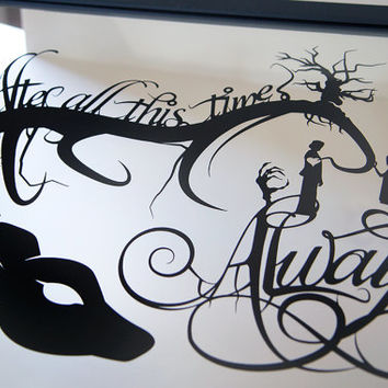 Always Snape and Lily - Harry Potter silhouette handcut paper craft