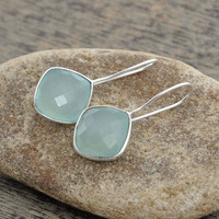 Diamond Cut Gemstone Earrings, Aqua Chalcedony Cushion Silver Bezel Earrings, 925 Silver Bridal Earrings, 12mm - #1586