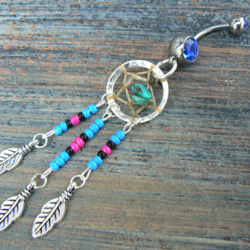 blue dreamcatcher belly ring turquoise  blue pink and black beads in native american tribal boho hippie belly dancer and hipster style