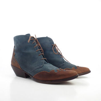 Granny Boots Vintage 1980s Western Blue and Tan Brown Leather Lace Up  Women's size 8 1/2