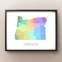 Oregon State Map - Custom Print
