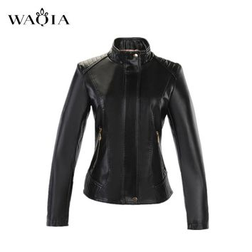 2017 Autumn Fashion Street Women's Short Washed PU Leather Jacket Zipper Bright Colors New Ladies Basic Jackets Plus size XL-6XL