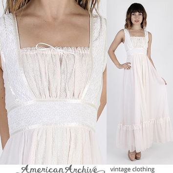 Gunne Sax Dress Prairie Dress Boho Dress Hippie Dress Jessica McClintock Vintage 70s Boho Wedding Hippie Prairie Pale Pink Lace Maxi S