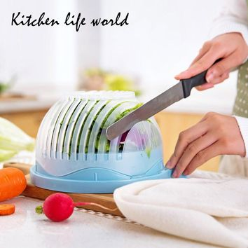 2017 60 Seconds Salad Cutter Bowl Easy Salad Maker Tools Fruit Vegetable Chopper Kitchen Tool Gadgets Cutter kitchen Accessories