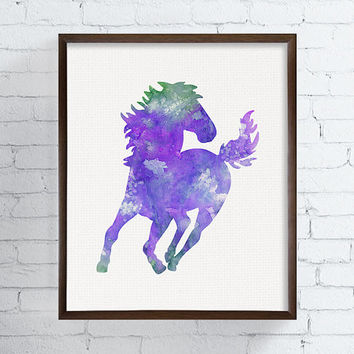 Watercolor Horse Painting, Horse Art Print, Horse Poster, Equestrian Girl Art, Girls Room Decor, Nursery Wall Decor, Girls Wall Art, Purple