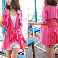 women's Chiffon blouses OL style Cloak and shawl suit Sundress Windbreaker Two color Spring Top M,L,XL