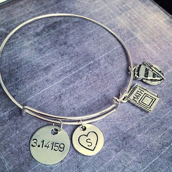 3.14159 Pi Expandable Bracelet - Fits WRIST SIZE : 7.0 to 8.5 inches - Math Jewelry - Mathematician Jewelry - Pi Jewelry