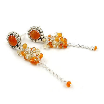 Sterling silver stud earring,  orange yellow earring, gemstone small earring, metalwork jewelry