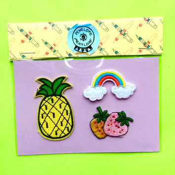 Set of 3 Mini Vintage Patches- Pinapple, strawberries, and rainbow