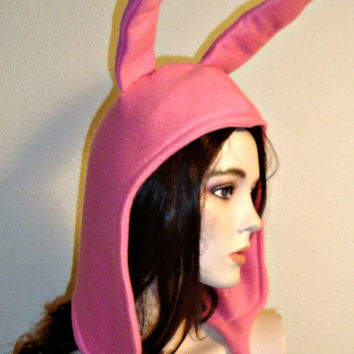 Louise Pink Bunny Ears Hat Bob's Burgers Cosplay Costume