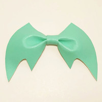 Spooky Creepy Cute Kawaii Harajuku Pastel Goth Soft Grunge Halloween Mint Vegan Leather Bat Bow Hairclip