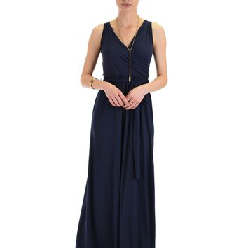 Lyss Loo All Mine Sleeveless Crossover Navy Wrap Maxi Dress