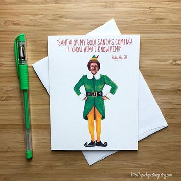 Buddy The Elf Will Ferrell Funny Christmas Card Holiday Card FREE SHIPPING