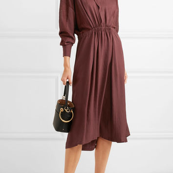 Vince - Silk-paneled gathered crepe de chine dress