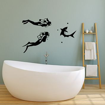 Vinyl Wall Decal Diving Scuba Diver Aqualunger Shark Stickers (3215ig)