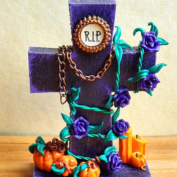 The Usual Unknown - Halloween Decorative Wood Miniature Gothic Cross